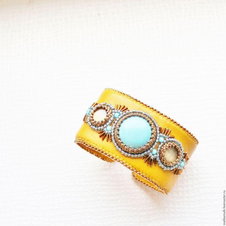 Купить браслет натуральная кожа натуральные камни бирюза - Браслет ручной работы