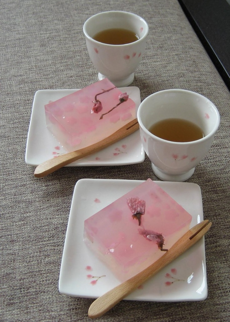 Sakura jelly and Japanese Tea