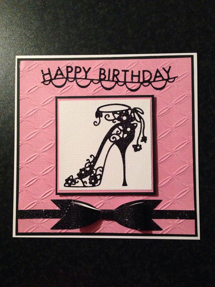 Female birthday card using high heel Bella tattered lace die