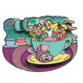 disneyland alice tea cup ride pin