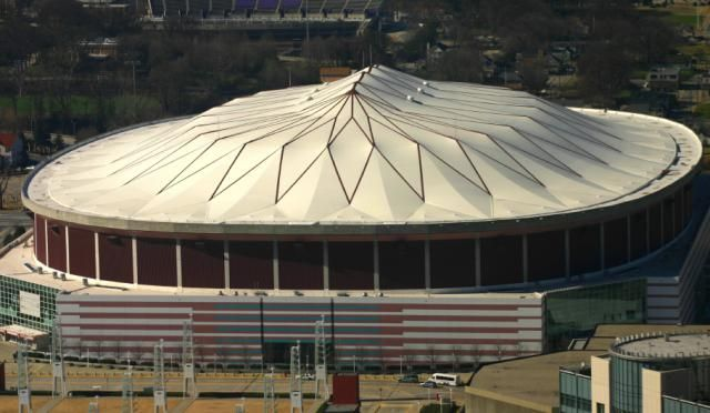 The Georgia Dome in Atlanta, Georgia World's largest cable-supported domed stadium http://architecture.about.com/od/greatbuildings/ig/Stadium-and-Arena-Pictures/Georgia-Dome.htm#step-heading