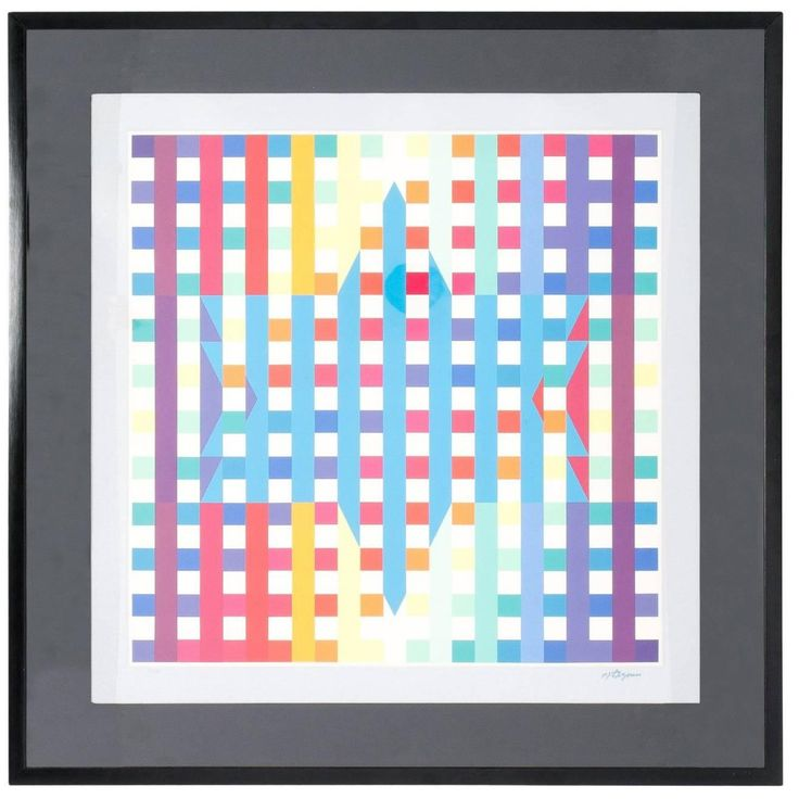 Opt Art Lithograph by Agam   From a unique collection of antique and modern prints at https://www.1stdibs.com/furniture/wall-decorations/prints/
