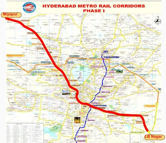 Hyderabad Metro Rail Route Map and Ticket Prices Fares: Hyderabad metro rail fares between 10 rs and 60 Rs.Route map between arrival and depature