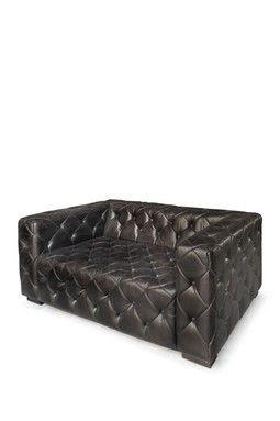 Metro Vintage Charcoal Grey/Black Tufted Love Seat