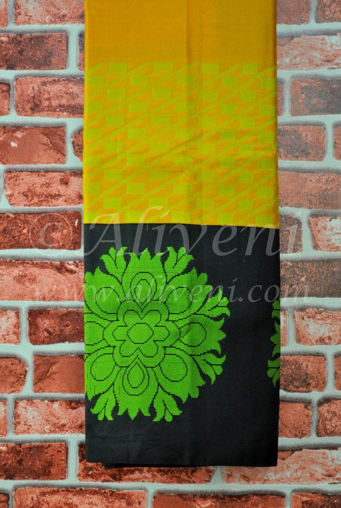 Turmeric Yellow Plain Pure Pattu Saree with Black/Green Double Borders