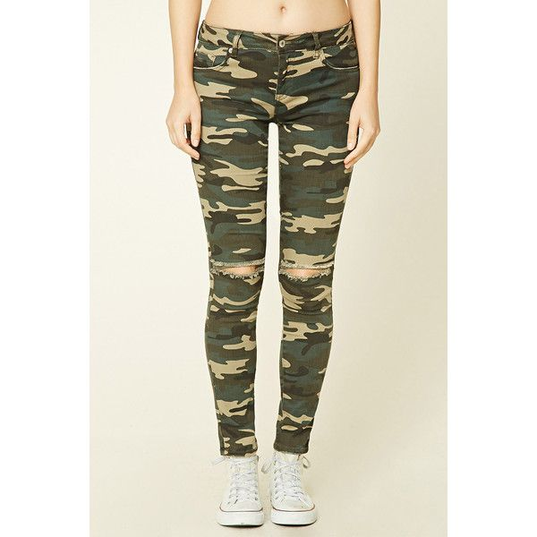 Forever21 Camo Print Skinny Jeans ($28) ❤ liked on Polyvore featuring jeans, skinny jeans, white skinny leg jeans, forever 21 skinny jeans, white camo jeans and camo print jeans