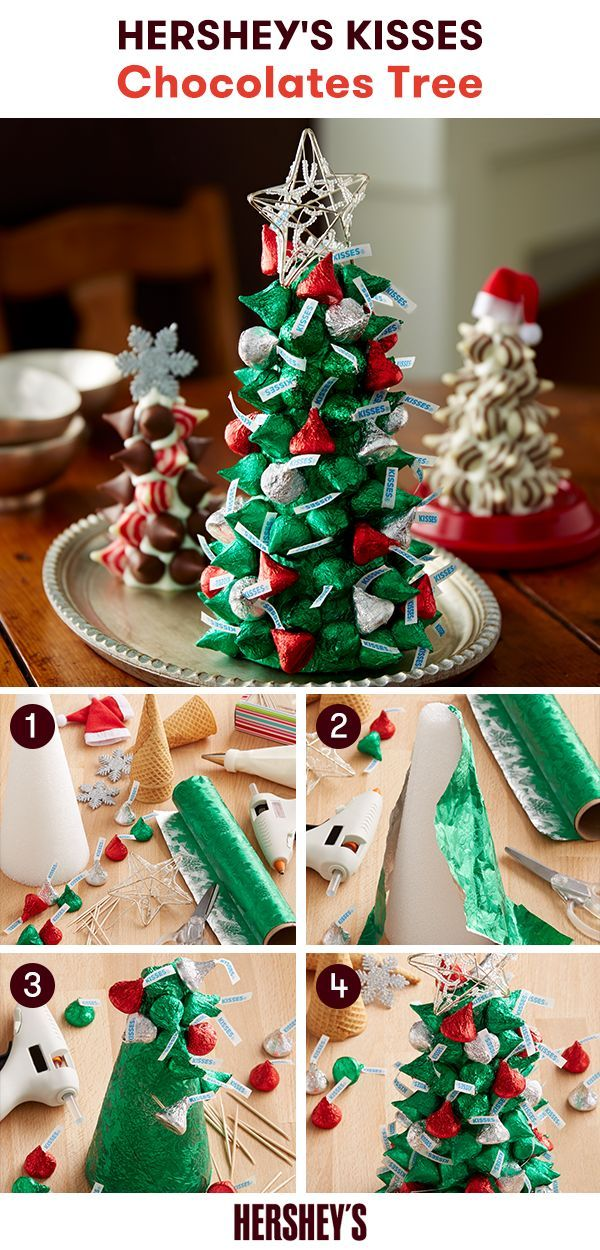 Give your home a holiday flair with this HERSHEY'S KISSES Brand Chocolates Tree craft. From sweet treats to recipes and crafts, Celebrate with Hershey's has everything you need for a sweeter holiday season. Learn how to make this table staple today!