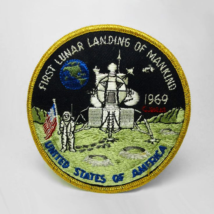 Vintage Original 1969 Apollo 11 First Lunar Landing of Mankind Embroidered Patch - CA260 - Vintage Original 1969 Apollo 11 first lunar landing of mankind embroidered patch. Neil Armstrong planting American flag - FOR SALE at www.ClaudiasBargains.com
