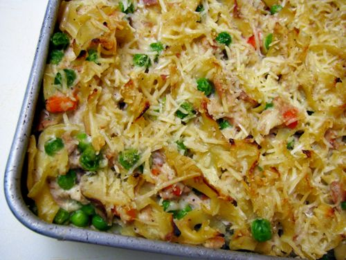 Tuna Noodle Casserole -- a remake of the old school comfort food, but made with NO canned soup