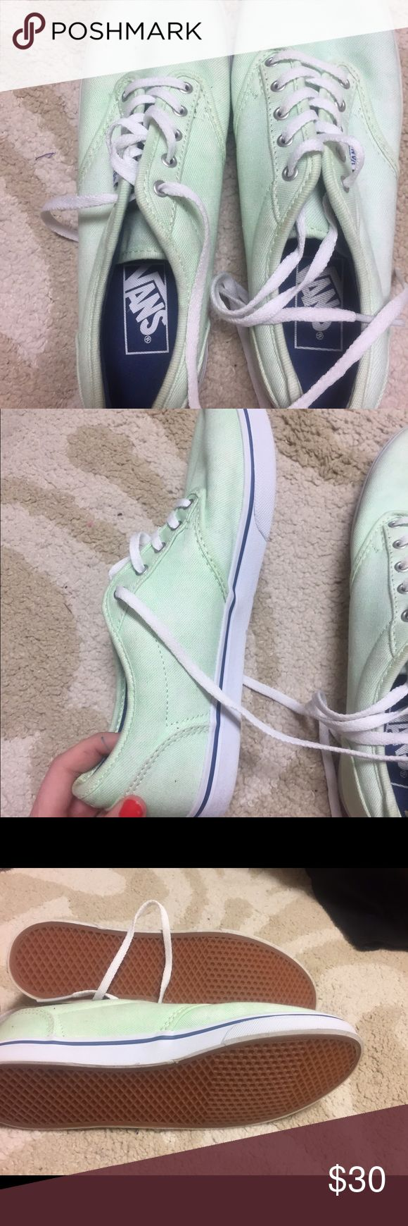 Mint Green Vans Mint green with navy strip vans. Very gently worn maybe twice! Vans Shoes Sneakers