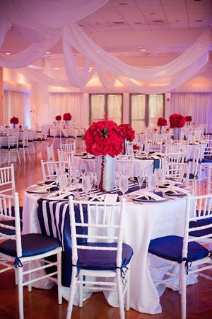 red white and blue nautical preppy reception decor | Captured Photography
