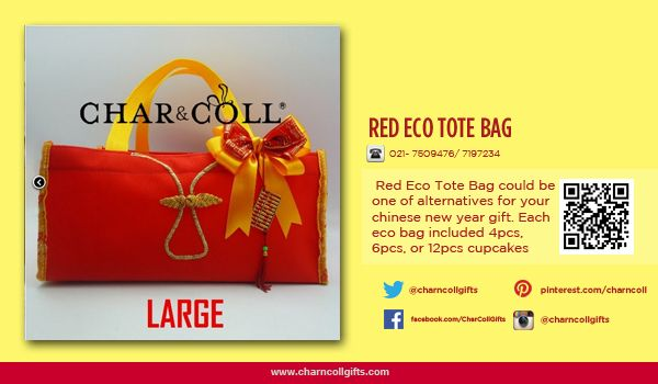 RED ECO TOTE BAG LARGE / SMALL |  Celebrate the Chinese New Year! Share the proesperity and happiness | Order now : www.charncollgiftS.com | 021-7509476 / 021-7197234 #ChineseNewYearGifts #ChineseNewYear