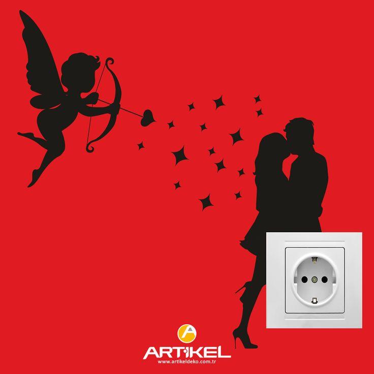 """Kolayca uygulayabileceğiniz """"Aşk Priz"""" Sticker... #sticker #duvardekorasyonu #dekorasyonfikirleri #art"""