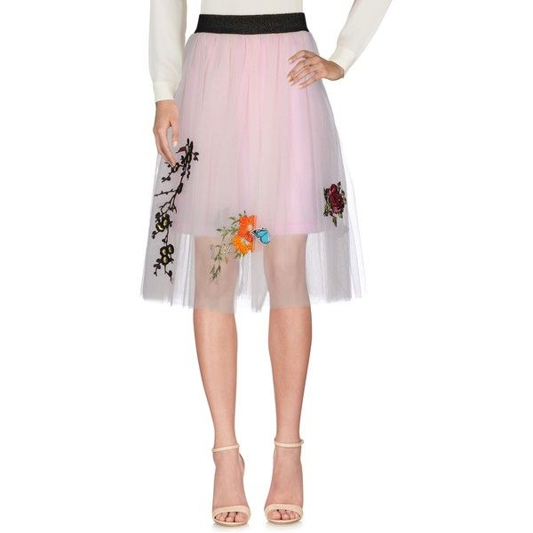 5 Progress 3/4 Length Skirt ($180) ❤ liked on Polyvore featuring skirts, light pink, light pink pleated skirt, light pink skirt, embroidered skirt and pleated skirts