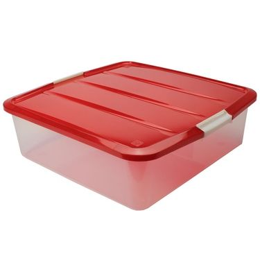 Plastic Wreath Storage Box Red For Flat Sq Of Clothes