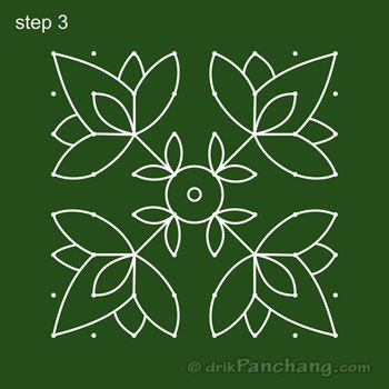 8x8 Dot Rangoli Step 3