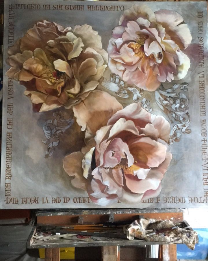 Latin Poetry and Roses printed on silk Diana Watson painting copy right