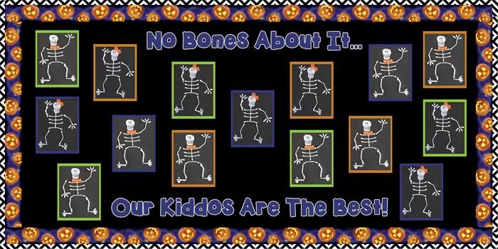 Student created Halloween bulletin board idea. Learn how to make the fun skeleton craft here: http://www.mpmschoolsupplies.com/ideas/5874/no-bones-about-it-halloween-bulletin-board-idea/