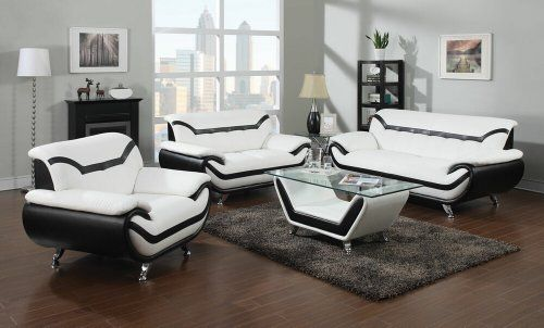 White and Black Sofa and Loveseat