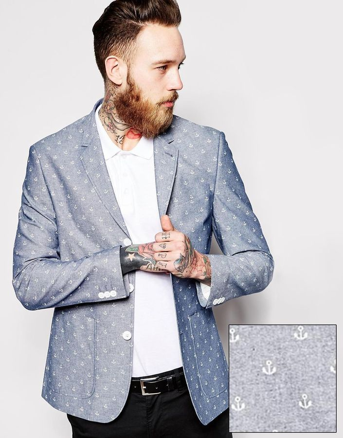 Slim Fit Blazer: Anchor Design  #Fashion #Men  You can buy this item here: http://mckayfashion.eu/ss/item/55e9789a7fa561b8395d1d0b