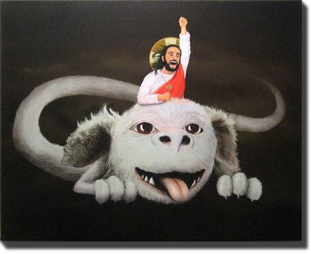 Happy Flight Limited Edition Art Canvas, Joseph Griffith--Jesus riding Falkor the Luck Dragon from the Neverending Story. Together they will conquer the Nothing and save the dreams and hopes of all mankind. (2006)