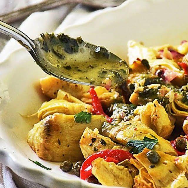 Ina Garten's Roasted Artichoke Salad with Artichoke Hearts, Olive Oil, Kosher Salt, Cracked Black Pep… | Artichoke salad recipes, Roasted artichoke, Artichoke salad