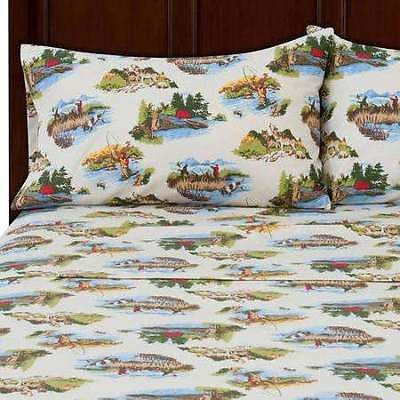 New Mainstays Fly Fishing Wolves Camping Hunting Theme Flannel Full Sheet Set