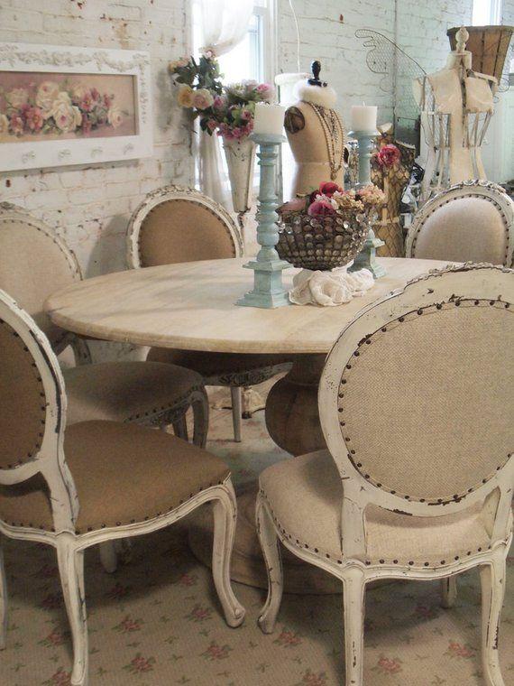 Painted Cottage Chic Shabby French Linen Round Dining Table Etsy Shabby Chic Round Dining Table Shabby Chic Room Painted Chairs Dining Room