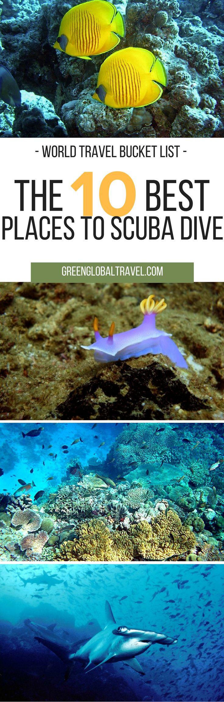 Here are the ten best spots to go scuba diving! | Sipadan, Borneo | Cocos Island, Costa Rica | Red Sea of Dahab, Egypt | Great Barrier Reef, Australia | Kona Mantas, Hawaii | Bay Islands, Honduras | Darwin's Arch, Galapagos Islands | Kimbe Bay, Papua New Guinea | Anilao, Philippines | Chuuk, Micronesia |