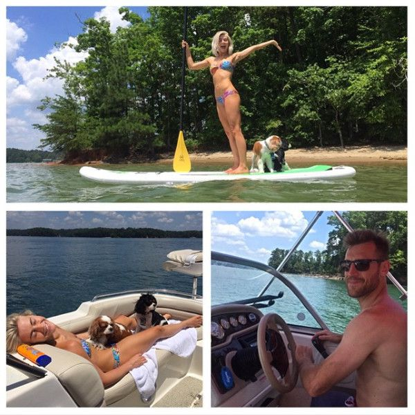 """Lake Life from Julianne Hough & Brooks Laich: Romance Rewind  """"She rented a boat, fishing gear, paddle boards, and surprised me with a day on the lake for my birthday!"""" Laich wrote on Instaram. """"You are the most amazing girlfriend @juleshough, best birthday ever! #lexi #harley #familyday #luckyman"""""""