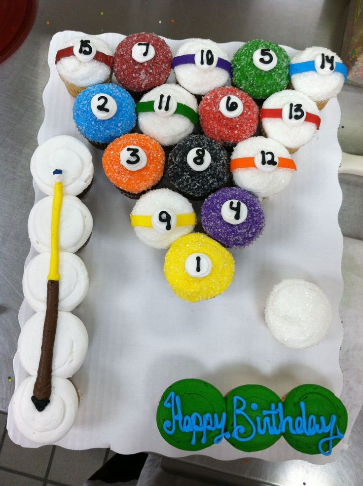 Pool Balls and Cue Stick Pull Apart Cupcake Cake