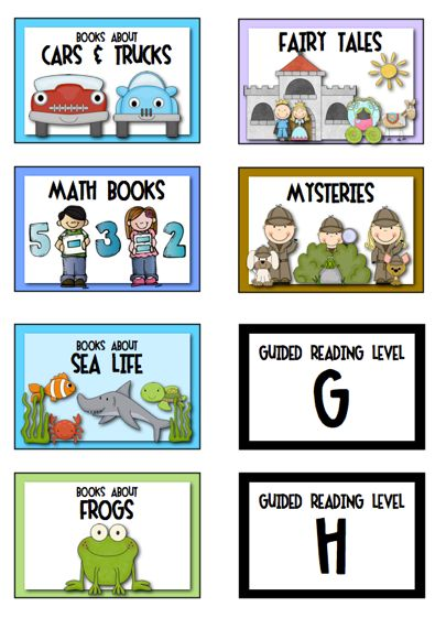 "Sample labels from ""Classroom Library Labels"" ... 160 labels for the primary library (K-3), including topics, authors, genres, guided reading levels, and more.  LINK to product:  http://www.teacherspayteachers.com/Product/Labels-for-the-Primary-Classroom-Library-269484   $"