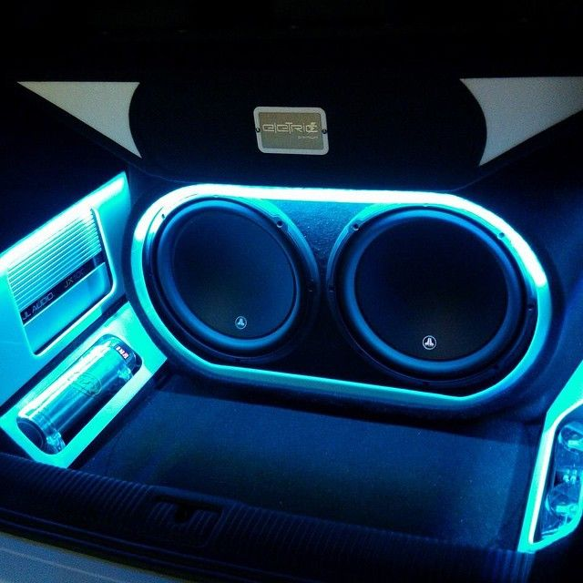 JL Audio Audi A3 with 12W3v3 subwoofers and JX amplifiers all lit up