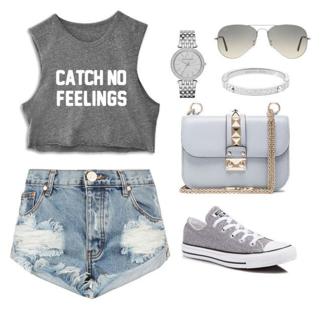 """""""Elegant grey"""" by prosvetovajane ❤ liked on Polyvore featuring One Teaspoon, Converse, Michael Kors, Ray-Ban and Valentino"""