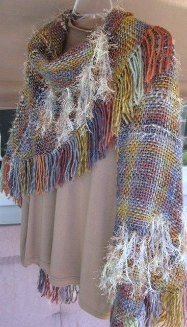 6 ft tri-loom shawl with mixed yarns.