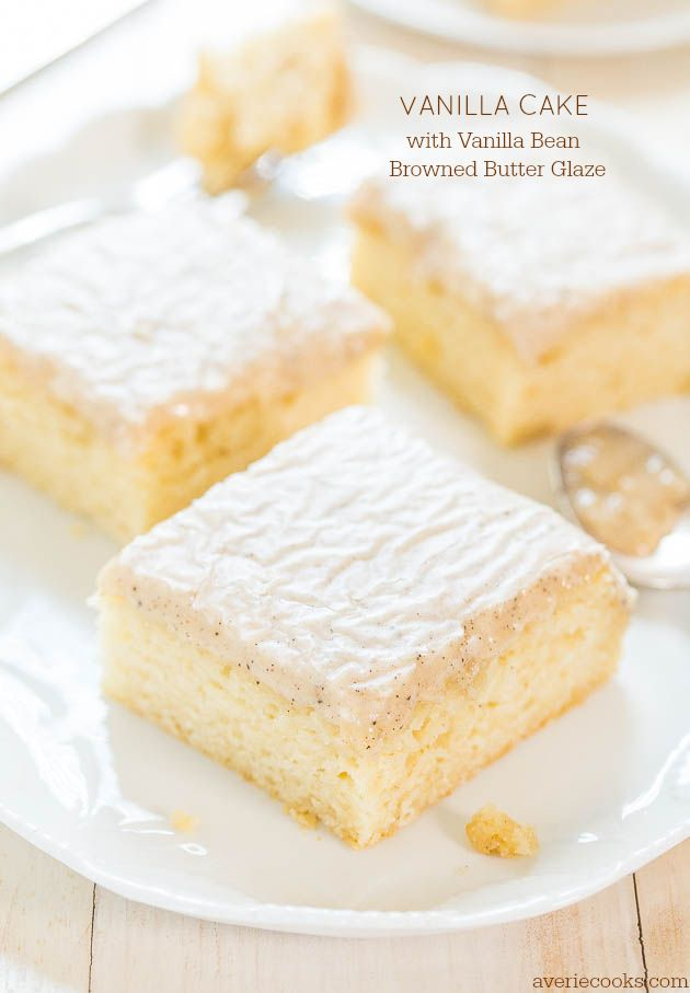 Vanilla Cake with Vanilla Bean Browned Butter Glaze - You won't miss chocolate at all after trying this cake! The glaze is just heavenly!!!  Can't wait to try  #pintheperfect #maryberry