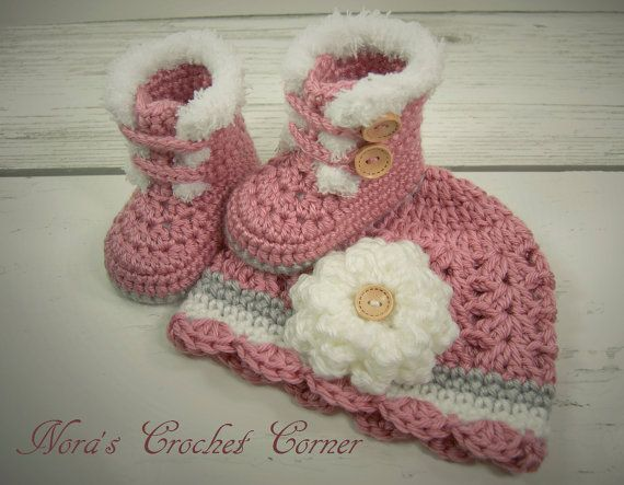 Description of Listing: Adorable crochet fur-trimmed boots and matching hat with flower are perfect to keep your little one warm! Set shown is made with Red Heart Soft yarn in Rose Blush, Elephant, and White. ***MADE TO ORDER***  SIZES: Available in any o