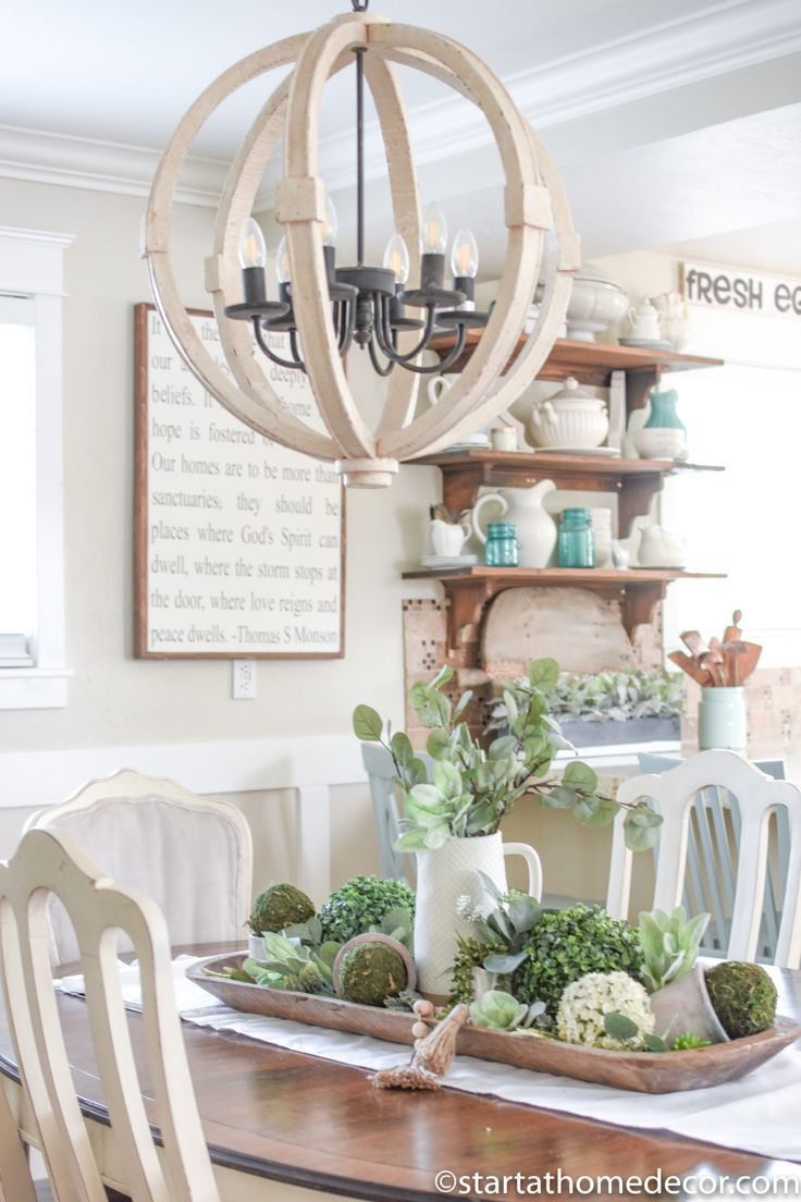 Decorating With Faux Plants And Dough Bowls Are The Perfect Farmhouse Combination Dining Room Table Centerpieces Dining Room Centerpiece Home Decor
