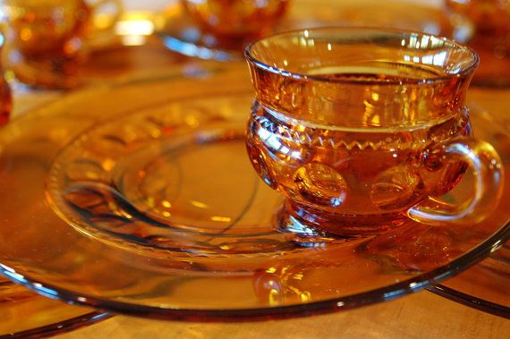 Amber Glass Lunch Snack Set - 6 Sets Available, Indiana Glass King's Crown Thumbprint Buffet Party Sets, Autumn Fall Serving, Wedding Gift