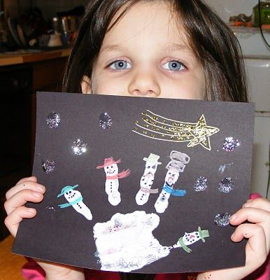 winter artWinter Art, Hands Prints, Handprint Snowman, Winter Scene, Snowman Hands, Handprint Art, Ten Kids, Scene Handprint, Handprint Snowmen