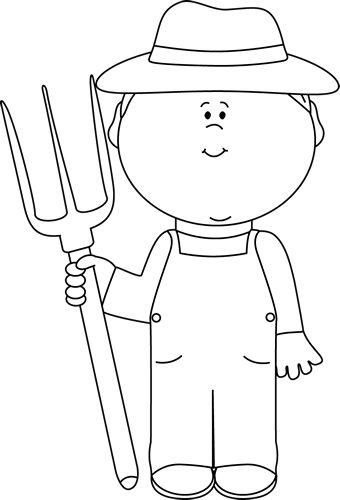 White Farmer Boy Clip Art Image Black And White Outline Of ...