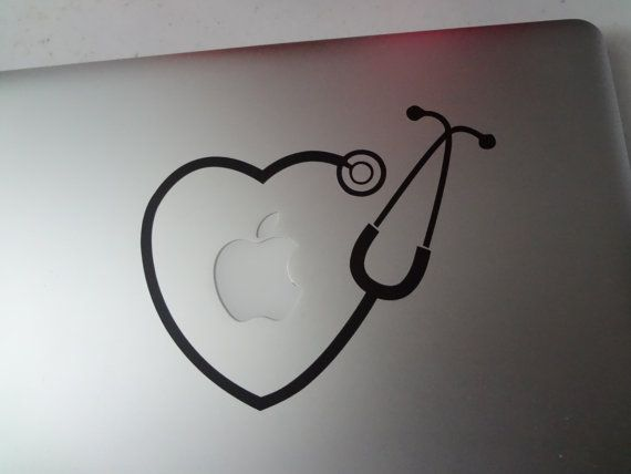 On sale limited time!!!!!! You get 2 decals ....read on..... Cute Stethoscope decal to fit the iPad or iPad mini or MacBook 11-13-15- or 17 inch laptop. See photos ----so cute----The light from your Macbook Apple makes the Heartbeat come to life! Perfect for the nursing, doctor or med