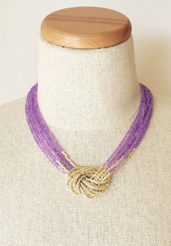 Transluzente Purpur und gold Halskette Samen von StephanieMartinCo