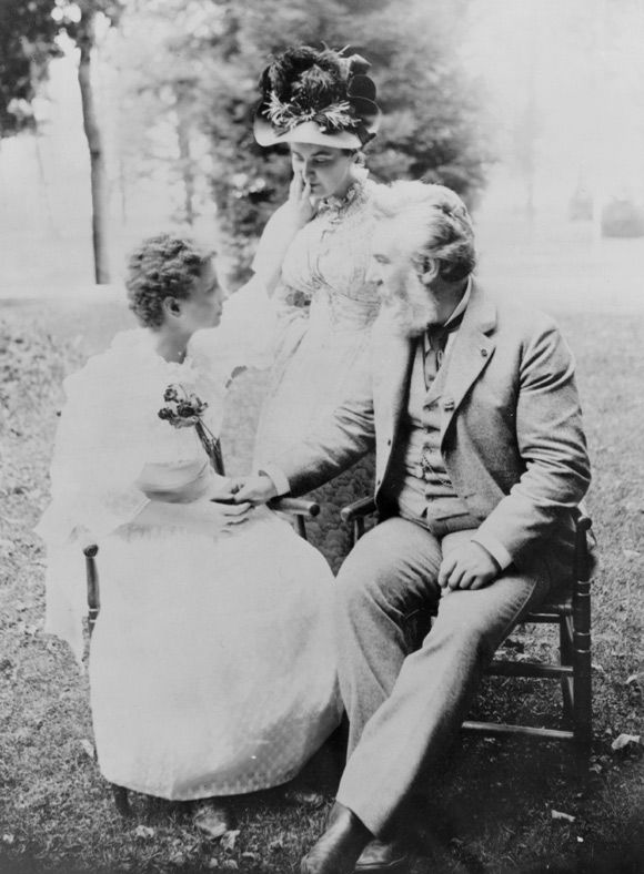 This photo, taken in 1894 of Alexander Graham Bell, Annie Sullivan and Helen Keller (seated). Bell introduced Keller to her famous teacher.