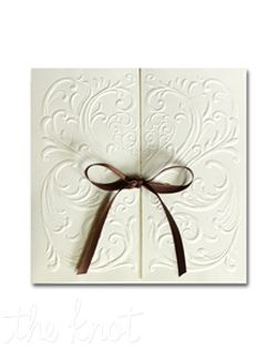 """A romantic heart surrounded by filigree is richly blind embossed on this invitation. 5 1/2"""" x 5 1/2"""""""
