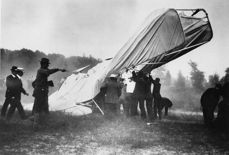 The wreck of the 1908 Wright Flyer that seriously injured Orville Wright and killed Lt. Thomas E. Selfridge, the first person to die as the result of an airplane accident; September 17th, 1908
