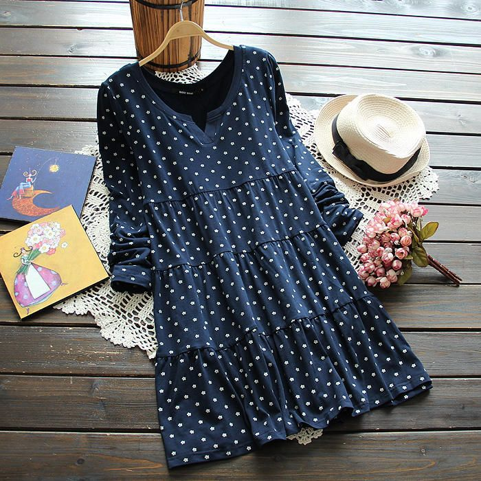 Print Ruffled Tiered Dress, Dot , Blue , M - TBR   YESSTYLE