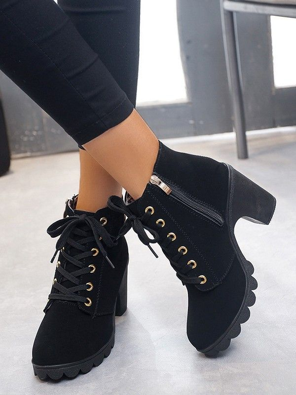Black Round Toe Chunky Heel Ankle High Heel Autumn Ankle