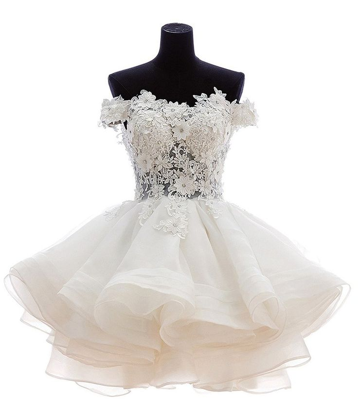 Lovely Ball Gown Off-Shoulder Knee Length Organza Lace Homecoming Dress With Beads