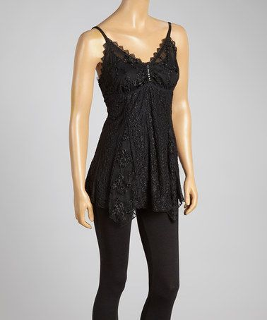 Look what I found on #zulily! Black Lace Silk-Blend Tank by Pretty Angel #zulilyfinds #inmycart #lovesit